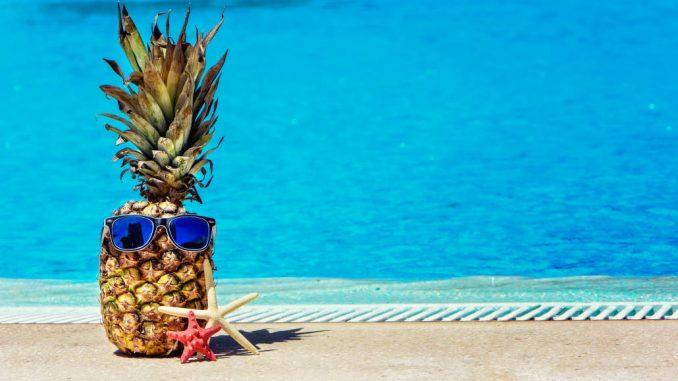 Ananas i sommerbriller nær svømmebassenget