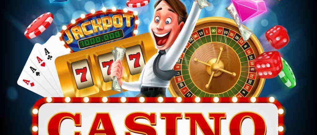 smilende mann med casinospill