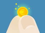 fingre som holder en liten euromynt