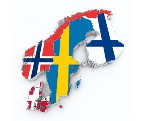 De skandinaviske landene dekket med sitt flagg