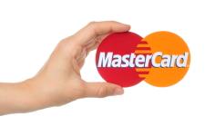 Hånd holder, mastercard, logo