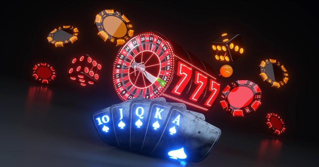 pokermarker, kort, roulettehjul og terninger