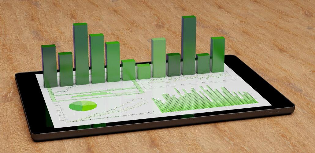 finansrapport på mobiltelefon