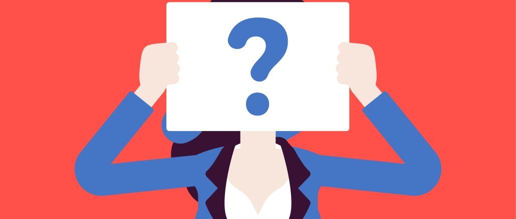 illustrasjon av en kvinne med et spørsmålstegn foran ansiktet